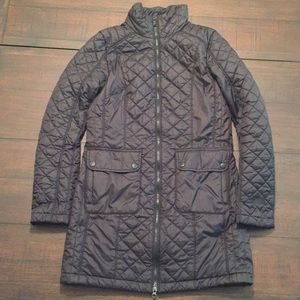 North Face Black Quilted Long Puffer Coat sz S